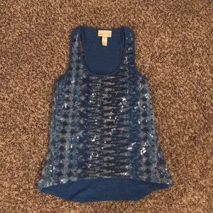 Red Camel Blue Sequined Tank Top